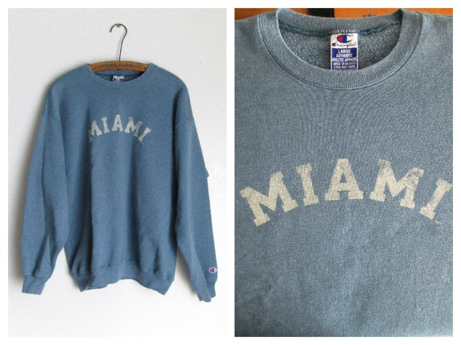 Primary image for Miami Retro Faded Graphic Blue Sweatshirt Cotton Blend Size Large Champion