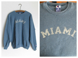 Miami Retro Faded Graphic Blue Sweatshirt Cotton Blend Size Large Champion - $16.44