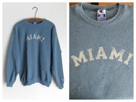 Miami Retro Faded Graphic Blue Sweatshirt Cotton Blend Size Large Champion - $16.44