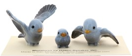 Hagen-Renaker Miniature Ceramic Bird Figurine Blue Tweetie Pa, Ma & Baby Set