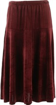 Bob Mackie Pull-On Velvet Flare Skirt Bordeaux S NEW A344692 - £28.63 GBP