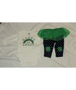 New Baby Girl First St Patricks Day Outfit NB One Piece Pants Skirt Happ... - $11.87