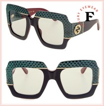 GUCCI 0484 Black Red Green Snake FANTASY Leather Oversized Sunglasses GG... - $772.20