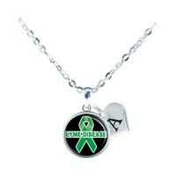 Custom Lyme Disease Awareness Green Ribbon Silver Necklace Jewelry Initial - $13.94