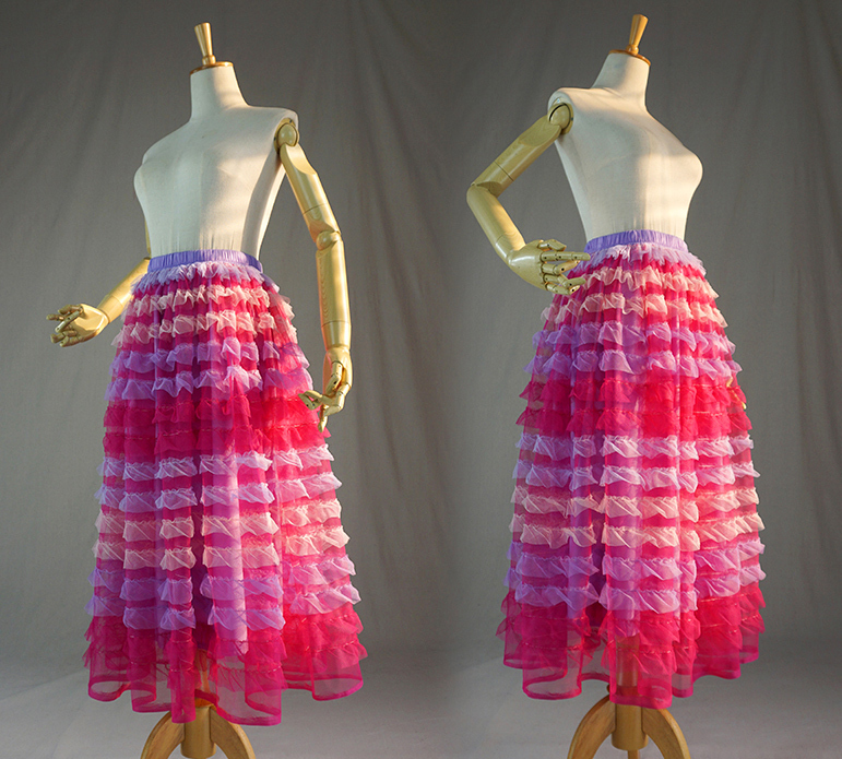 Pink multicolor tulle skirt 7