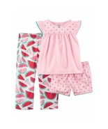 Carter's Girls Pink Watermelon PJ Pajamas 3 Piece Fruit Sleep Set Girl S... - $36.00