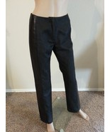 DKNY Buttery Leather Stripe Trim Wool Cotton Blend Black Pants 2 $298 - $123.49