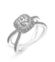 14k White Gold Plated 925 Silver Round Sim Diamond Solitaire With Acccents Ring - $71.55