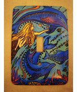 Mermaid & dolphins single or double light switchplate - $22.00