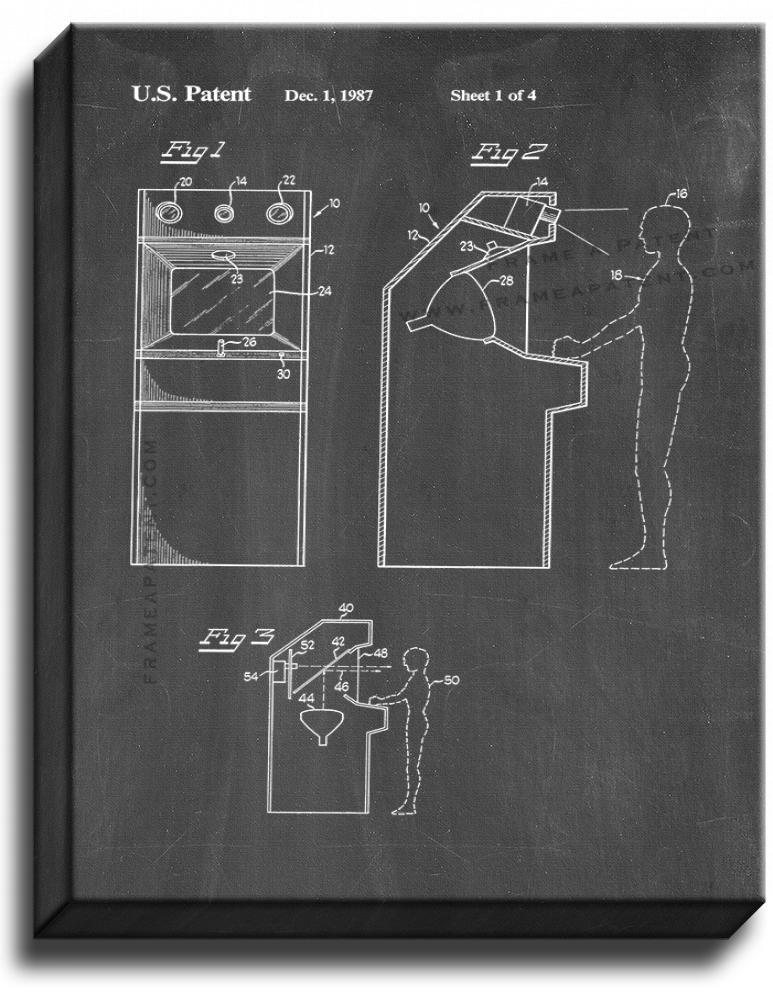 Primary image for Video Game Incorporating Digitized Images Patent Print Chalkboard on Canvas