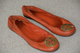 TORY BURCH Logo Reva Ballet Flats Equestrian Orange Gold Leather Shoes S... - $24.95
