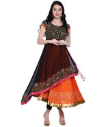 Ira Soleil double layered asymetrical hem gold printed anarkali kurti ma... - $49.99