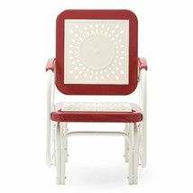 Retro Vintage Style Red White Metal Patio Glider Chair Outdoor Furniture  - $146.02