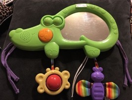 FISHER PRICE LUV U ZOO 2 IN 1 TUMMY TIMER MUSICAL Baby Mirror Rattle Cri... - $19.99