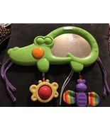 FISHER PRICE LUV U ZOO 2 IN 1 TUMMY TIMER MUSICAL Baby Mirror Rattle Cri... - $19.79