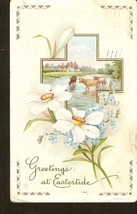 Greetings at Eastertide Easter Greetings posted in 1914 Cross Flowers Co... - $6.56