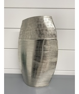 Nickel Vase Tall Rounded Crinkled Texture  - $59.99