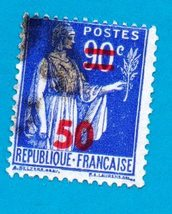 Used 1940 France Postage Stamp -Overprint 90 over 50 - Scott #406 - $1.99