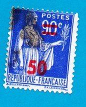 Used 1940 France Postage Stamp -Overprint 90 over 50 - Scott #406 - $1.99