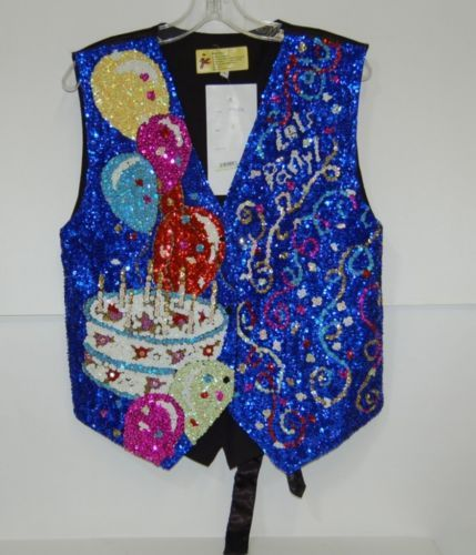 JC001 USA Brightly Multi Colored Lets Party Sequined Vest