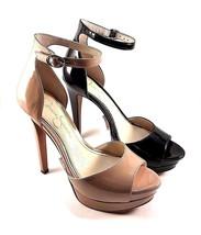 Jessica Simpson Sylvian Black Patent High Heel Platform Ankle Strap Sandal - $71.20