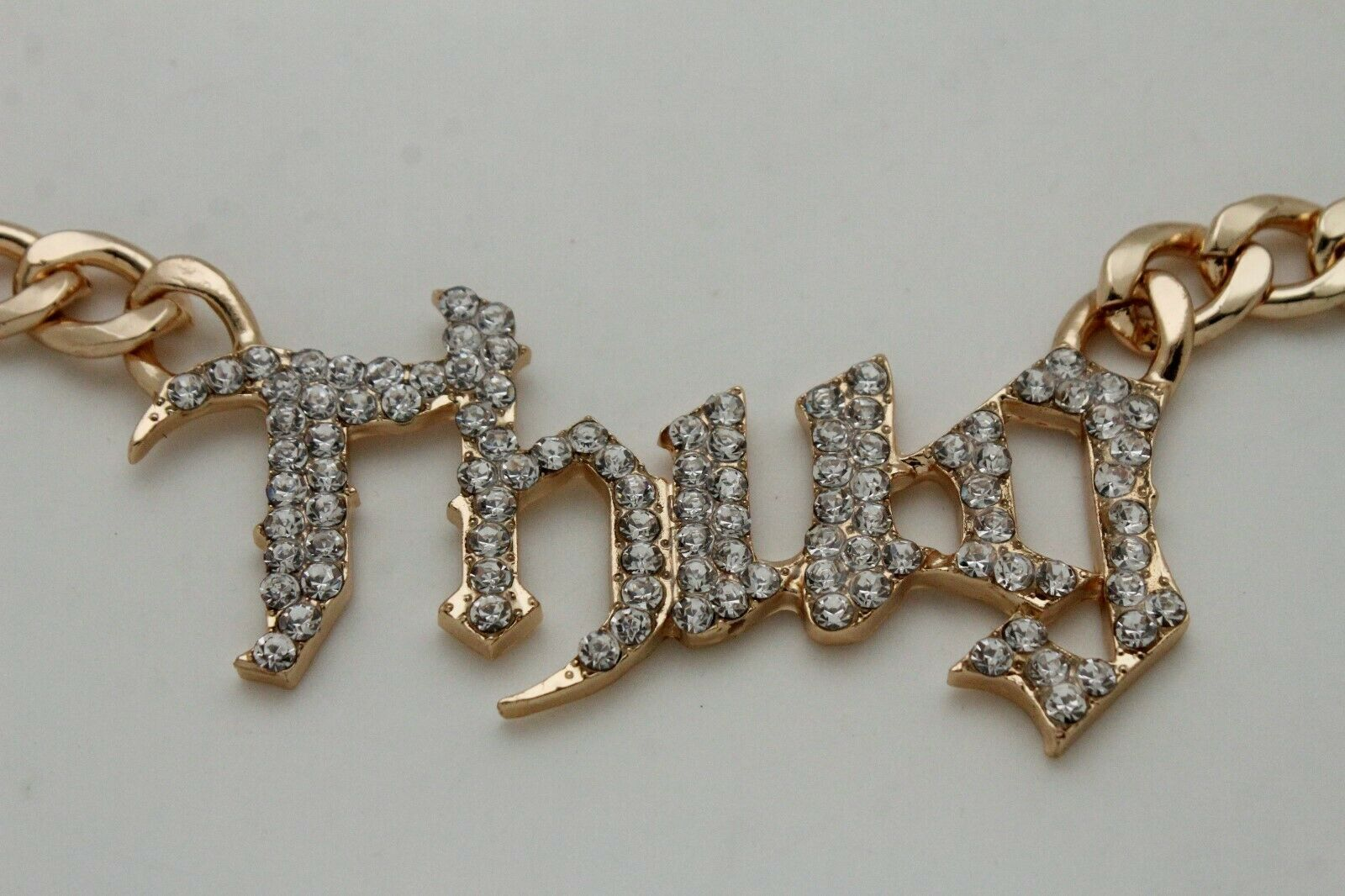 Chic Femme Métal or Sexy Hip Hop Mode Bling Argent Collier Thug Pendentif image 7