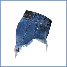 Cotton Blue Jean Denim Open Fly Hip Hot Pants Frayed Ripped Tasseled Shorts  image 3