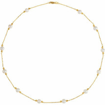 """Freshwater Cultured Pearl & Bead Station 18"""" Necklace In 14K White Gold - $296.99"""