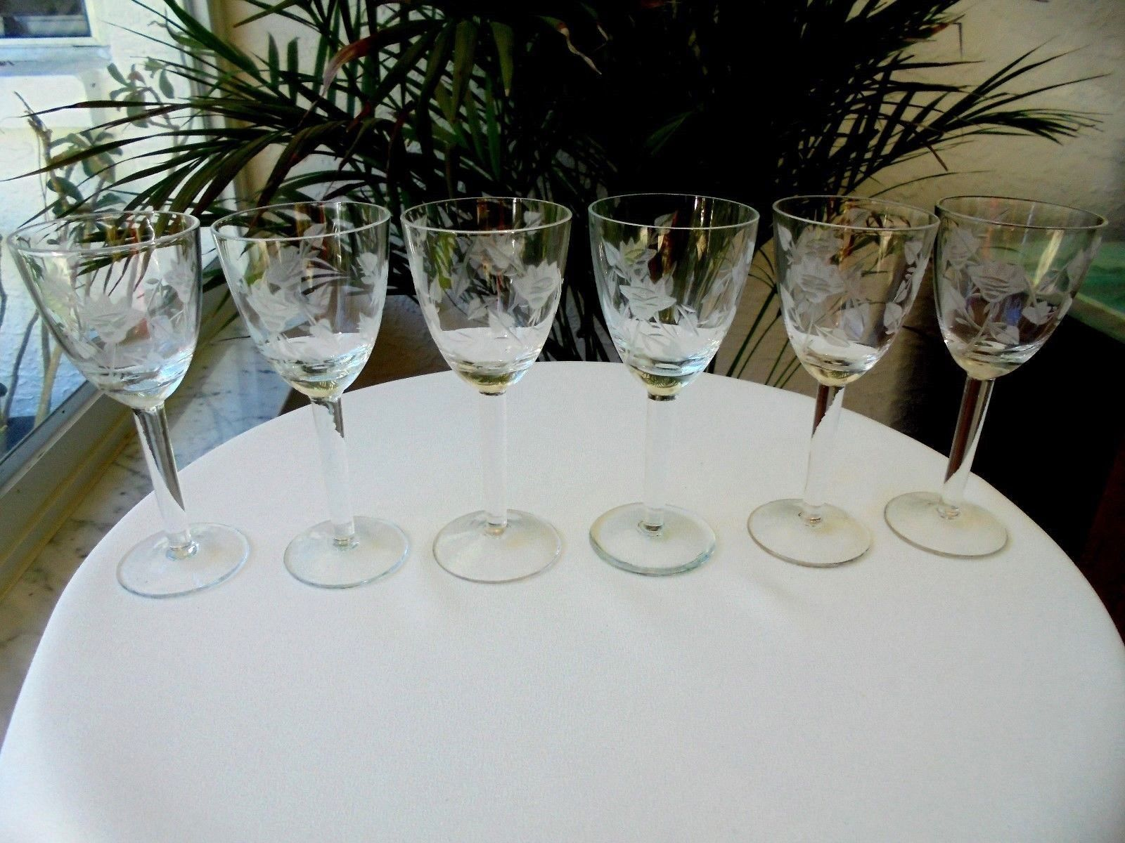 Primary image for Set of 6 Bohemia Cordial Glasses Etched Leafs