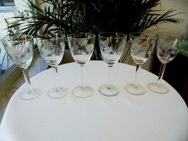 Set of 6 Bohemia Cordial Glasses Etched Leafs - $19.80
