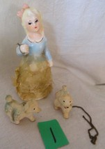 Victorian Lady in blue dress stiff lace fabric with 2 poodles with chai... - $8.90