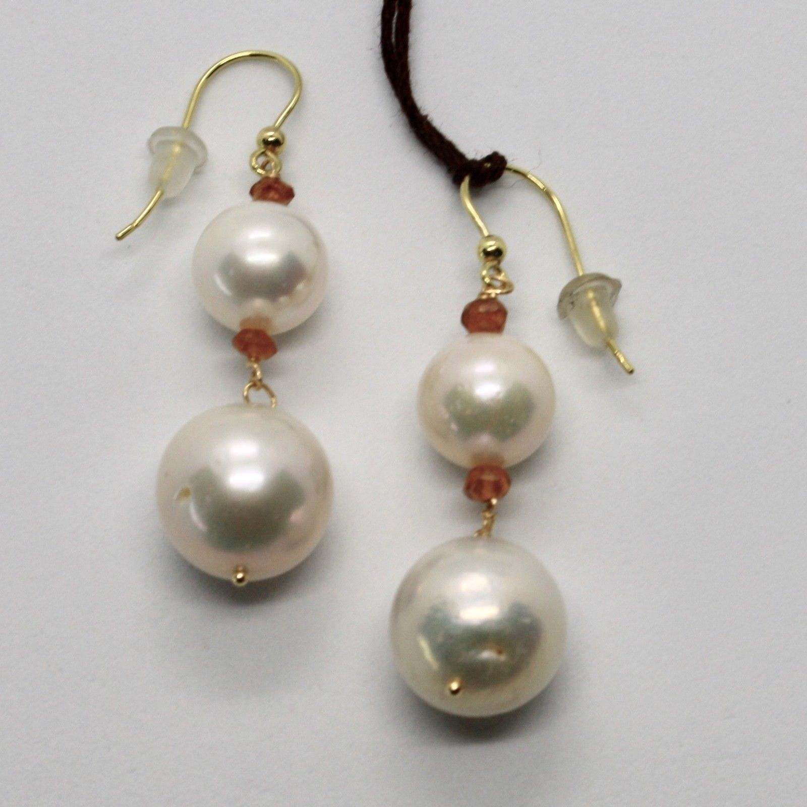 SOLID 18K YELLOW GOLD EARRINGS WITH WHITE FW PEARL AND CITRINE MADE IN ITALY