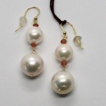 SOLID 18K YELLOW GOLD EARRINGS WITH WHITE FW PEARL AND CITRINE MADE IN ITALY image 1