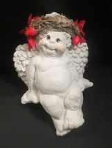 "Dreamsicles Shelf Sitter Angel Poinsetta Decorated by Kristine  4-1/2"" - $12.86"