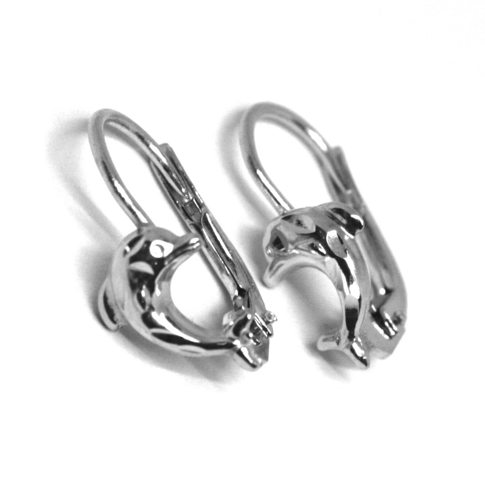 18K WHITE GOLD KIDS EARRINGS, HAMMERED DOLPHIN, LEVERBACK CLOSURE, ITALY MADE