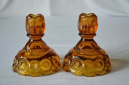 2 L E Smith Moon & Stars Amber Candle Holders - $14.85