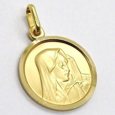 CIONDOLO MEDAGLIA ORO GIALLO 18K, Vergine Maria addolorata, TONDA, SATINATA