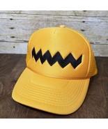 Vintage 80s Peanuts Charlie Brown Mesh Trucker Hat Strapback Nissin Base... - $22.20