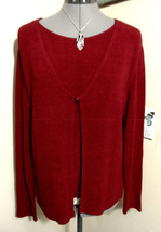 NOTATIONS 2-fer Twinset Cardigan Top M Red button front Terry look Scoop... - $16.82