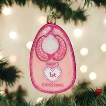 OLD WORLD CHRISTMAS PINK BABY BIB GIRL BABY'S 1st CHRISTMAS GLASS ORNAME... - $16.88
