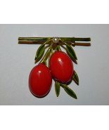 Original by Robert Red Elameled Plum Fruit Brooch with Faux Pearl - $22.99