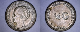 1944-D Curacao 1/4 Gulden World Silver Coin - Wilhelmina I - $12.49