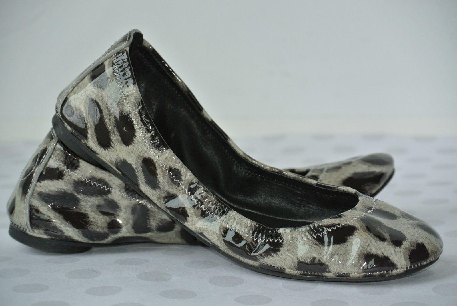 Tory Burch Eddie Womens Sz 5.5 M Patent Leather Animal Print Ballet Flats NICE!