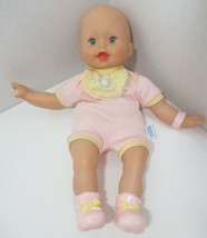 Fisher Price Baby Doll Little Mommy blue eyes pink outfit yellow bib booties '04 - $24.74
