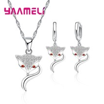 Jewelry Sets For Women Shiny Round Clear Crystal Special Lucky Fox Penda... - $12.57