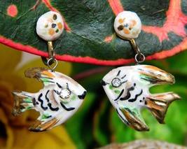 Vintage Fish Earrings Miniature Handcrafted Painted Screwback Dangles - $12.95