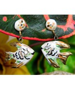 Vintage Fish Earrings Miniature Handcrafted Painted Screwback Dangles - £9.84 GBP
