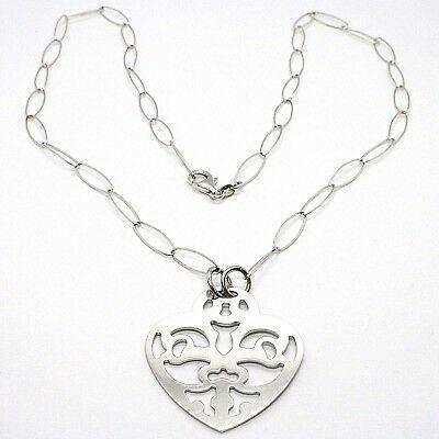 Collar Plata 925 ,Cadena Ovalados, Corazón Plato Perforado, Colgante