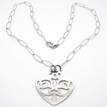 Collar Plata 925 ,Cadena Ovalados, Corazón Plato Perforado, Colgante image 1
