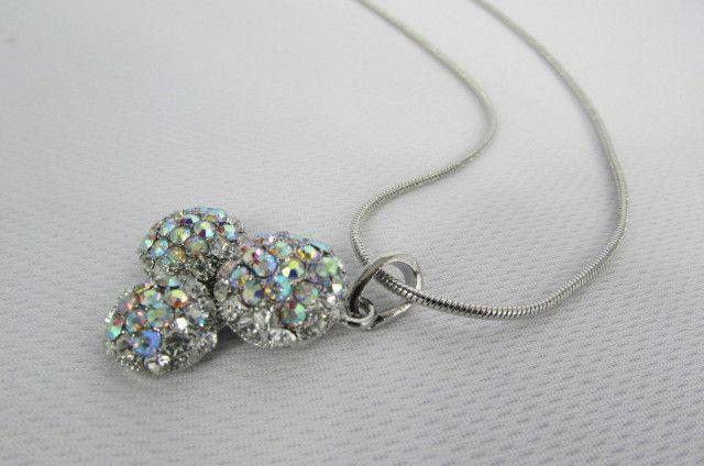Damen Kurze Modische Halskette Metall 3 Bälle Silber Gold Strass Anhänger Bling image 6